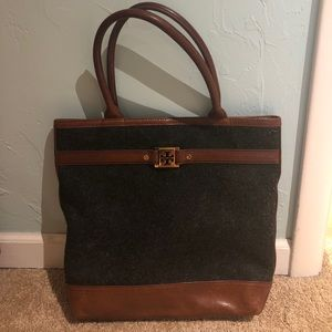 be66bb558972 ... Tory Burch Jaden wool and leather tote ...